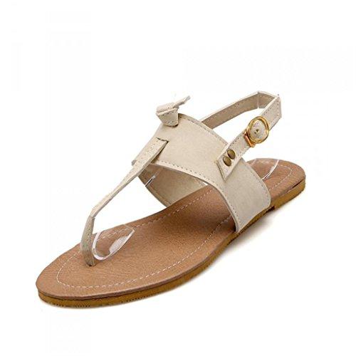 SHFANG Sandalias de las señoras Sandalias del dedo del pie del verano Zapatos del estudiante Playa De fondo plano Compras Turismo Tres colores Beige