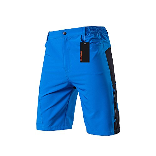 TOMSHOO Men's Baggy Cycling Shorts Breathable Loose-Fit Mountain Bike Shorts Outdoor Sports MTB Cycling Running Half Pants 2 Mountain Bike Shorts