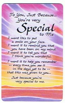To You Just Because Youre Very Special To Me Plastic Wallet Card