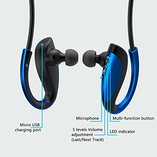 inzhirui wireless sport noise cancelling bluetooth headphones in ear with mic for smartphone. Black Bedroom Furniture Sets. Home Design Ideas