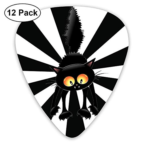 SEGTAR Black Cat Guitar Picks Custom ABS Plectrum Music Plucked Instruments Accessories Thin Medium Heavy Guitars Bass Best Stocking 0.46/0.71/0.96mm (12pack)