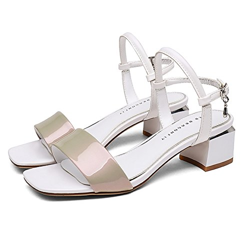 LIXIONG Zapatillas mujer verano moda Rhinestone Metal colgante Dew Toe Zapato profesional, Altura del tacón 5 cm, 3 colores -Zapatos de moda (Color : Negro, Tamaño : EU37/UK4-4.5/CN37/235) Albaricoque