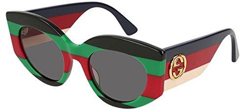 425005da398 Gucci GG0275S STRIPED GREEN GREY women Sunglasses  Amazon.co.uk  Clothing