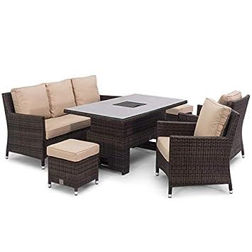 Enjoyable San Diego Rattan Milan Brown Sofa Dining Set With Ice Bucket Inzonedesignstudio Interior Chair Design Inzonedesignstudiocom