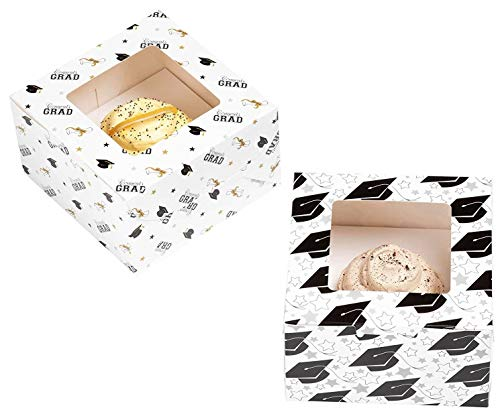 24-Pack Cupcake Boxes - Graduation Themed Individual Cupcake Containers with Window and Inserts, Glossy Bakery Box, 2 Designs, 5 x 3 x 5 Inches ()