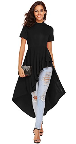 SimpleFun Womens Ruffle High Low Asymmetrical Short Sleeve Bodycon Tops Blouse Shirt Dress (XXXL, Black) Black Turtleneck Short Sleeve Dress