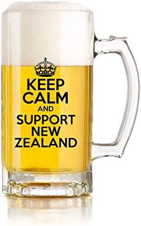 Restaurante de jarra de cerveza de vidrio, jarra de cerveza de juego de pelota Mantenga la calma y apoye el tema de Nueva Zelanda