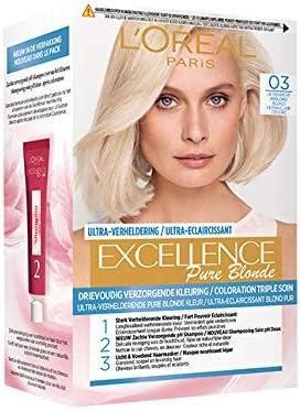 LOréal Excellence Pure Blonde N.° 3 Tinte rubio ultraclaro ceniza, 3 unidades