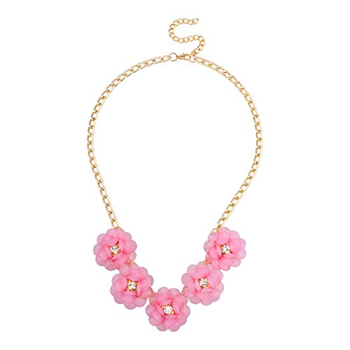 Lux Accessories Gold Tone Pink Pave Flowers Statement Floral Chain Necklace