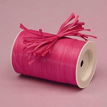 Premium Matte Raffia Ribbon - 100 Yards (Cerise Pink) 0