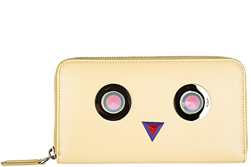Fendi women's wallet leather coin case holder purse card bifold continental zip
