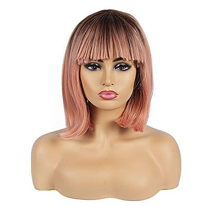 Peluca de pelo corto con encaje frontal sintético, 2 tonos, pelo ondulado sin pegamento