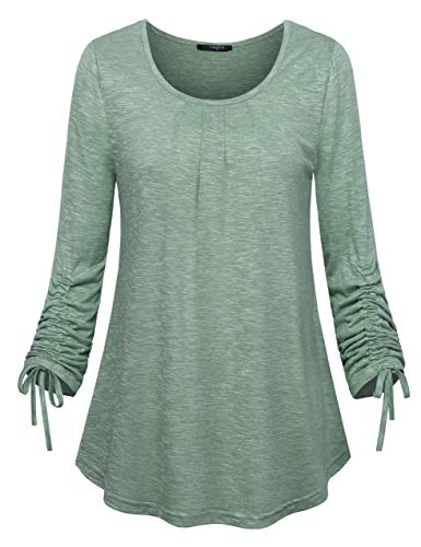 Womens Shirts Leggings,VALOLIA Pleated Lightweight Tops Loose Casual Knit Tops Ladies Long Sleeve T Shirt Blouse Springy Contemporary Beauty Pullover Shirt Activewear Green XL