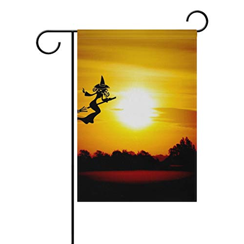 HSGRSSGF Halloween The Witch Broom Weird Atmosphere Black Garden Flag Vertical Double Sided Yard Flags Outdoor Decorative House Yard Flag 28x40 Inch Polyester Durable]()