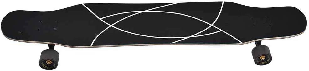 tavola da skateboard professionale da 46 pollici con nucleo in acero duro a 4 ruote per skateboard per bambini adulti principianti ragazza ragazzo Skateboard per longboard stile libero nero