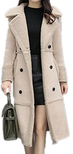 n Double Breasted Faux Suede Leather Outerwear Coat Beige S ()
