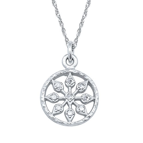 Gemstone Medallion Style Pendant - 10k White Gold Vintage Style Medallion Diamond Necklace