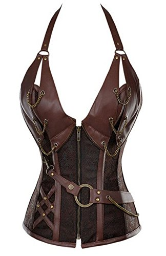 Women's Punk Rock Faux Leather Corset Bustier Basque Waist Cincher Bustier Lingerie