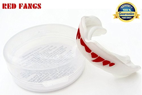 WHITE/RED Gum Shield Mouth Guard VAMPIRE DRACULA FANGS TEETH Sensei J Signature - Senior Boxing, MMA, Rugby, Ufc Wrestling Mouth Guard Protection by Shihan