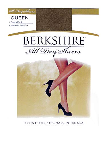 Berkshire Women's Plus-Size Queen All Day Sheer Non-Control Top Pantyhose - Sandalfoot, French Coffee, 1x-2x ()