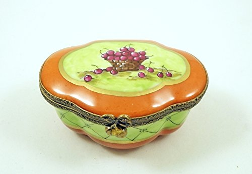 Authentic French Porcelain Hand Painted Limoges box Gorgeous Floral Chest Coffret with Cherries Floral Coffret