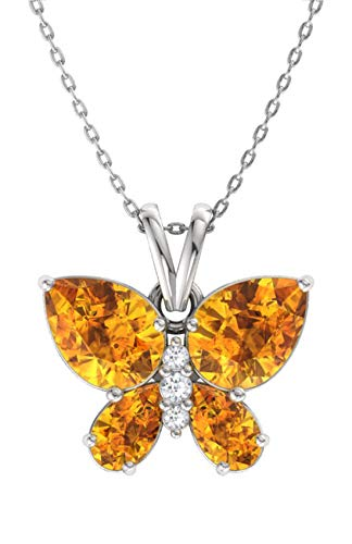 Diamondere Natural and Certified Citrine and Diamond Butterfly Petite Necklace in 14k White Gold | 1.11 Carat Pendant with Chain