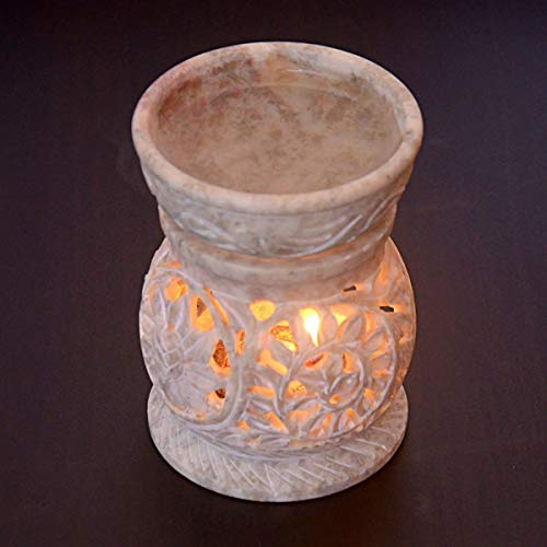 Hashcart Traditional Tea Light Candle Holder/SoapStone Candle Light Holder Set/Designer Votive Candle Holder Stand/Table Decorative Candle Holder for Christmas Gift & Decor