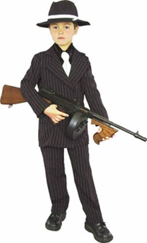 Mafia Girl Costumes (Kid's Mafia Gangster Boy Costume (Size:Med 8-10))