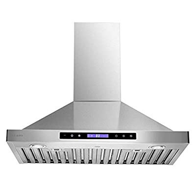 "CAVALIERE 30"" Wall Mounted Range Hood Brushed Stainless Steel Kitchen Vent 600 CFM With Re-circulation Kit"
