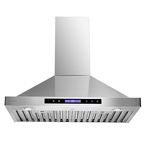 CAVALIERE 30″ Wall Mounted Range Hood Brushed Stainless Steel Kitchen Vent 600 CFM With Re-circulation Kit