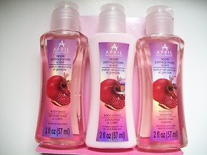 Bath And Shower Apple Pomegranate Scent 3 Piece Set With Travel