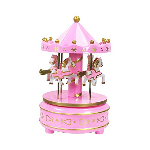 Cake Carousel Music Box, Children Girls Romantic Music Box with Crystal Ball Colorful Home Decoration Carousel Decoration Blue Pink (Mini)