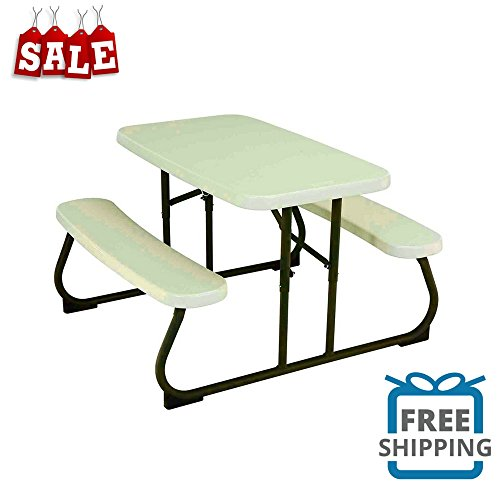 Folding Picnic Table For Childrenu0027s Rectangular Plastic Play Table Durable  Comfortable Easy Storage Weather Resistant