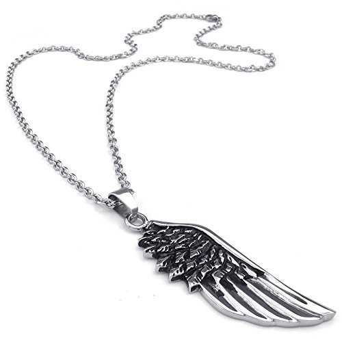 KONOV Mens Angel Wing Stainless Steel Pendant Necklace, Black Silver, 24 inch Chain