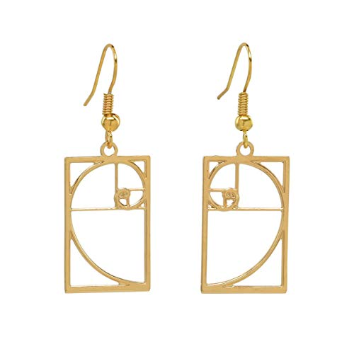 (Boutique Academia Fibonacci Spiral Golden Rectangle Earrings Science and Math Jewelry Gift (Gold-Plated-Brass))