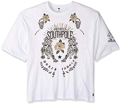 - Southpole Men's Big and Tall Short Sleeve Graphic Tee, White 2, 4XB