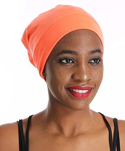 Satin Silk Sleep Slap Cap Chemo Bonnet -Sleeping Night hat Curly Hair Treatment Women Satin Lined hat Scarf Orange