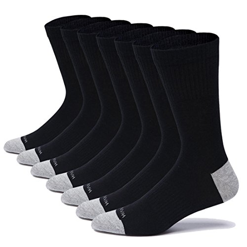 Tall Mens Athletic Socks - WANDER Tall Crew Socks Mens Black 7-Pack/12-Pack, Ribbed Breathable Cotton Athletic Socks for Men White, Large Size 6-7.5/8-9.5/10-12 (7Black, 8-9.5)