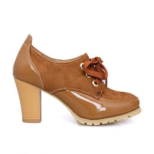 PU Runde mit Chunky Frosted Pumps Heels Geschlossene Zehe VogueZone009 Brown Womens High Solid Heels Zehe fwtPFf0qx