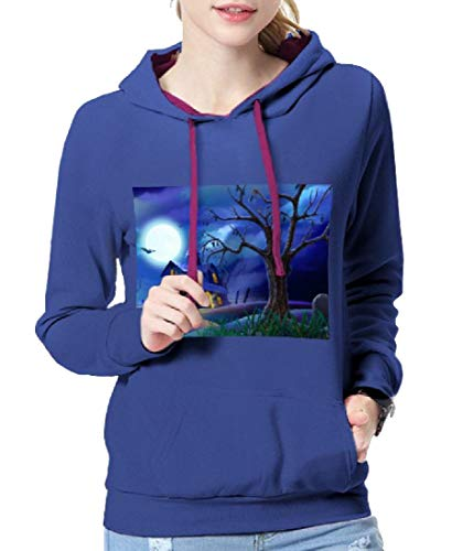 Comaba Women's Hooded Loose-Fit Halloween Costume Tunic Sweatshirts Blue L ()