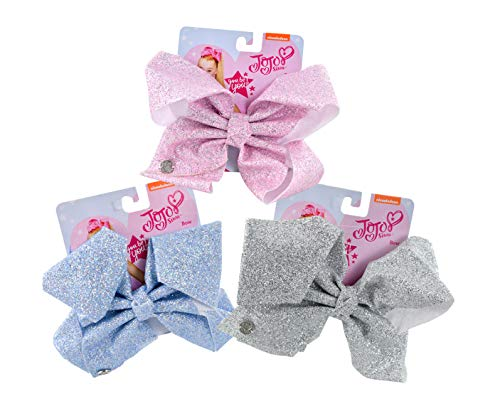 Blue Lite Glitter - JoJo Siwa Glam Glitter Signature Hair Bows 3-Pack Collection- Light Blue Glitter, Pink Glitter, Silver Glitter