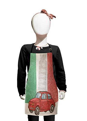 Lunarable Italian Flag Kids Apron, Touristic Site Leaning Tower of Pisa Popular European Scene with Old Car Motif, Boys Girls Apron Bib with Adjustable Ties for Baking Painting, Kids Size, (European Costume Ideas)
