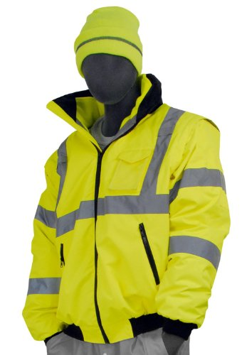(Majestic Glove 75-1381 PU Coated Polyester High Visibility Transformer 8 in 1 Bomber Jacket, Medium, Yellow)
