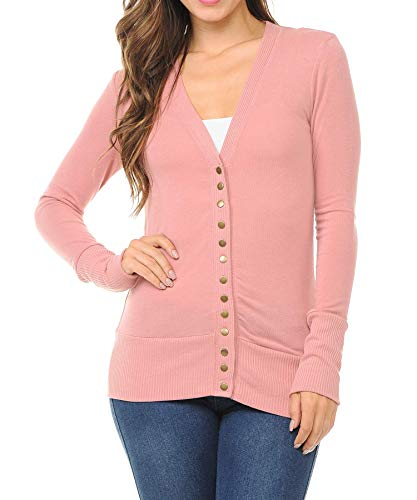 Women's Snap Button Sweater Cardigan with Ribbed Detail, Dusty_rose, Medium