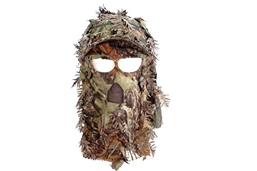 QuikCamo Mossy Oak Obsession Camouflage 3D Leafy Mesh Back Cap with Hunting Face Mask Combination (58cm (Adjustable)) Adj Face