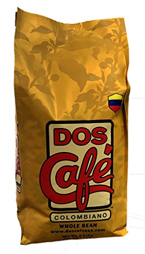 Dos Cafe 100% Colombian Whole Bean 5 Lbs Gourmet Coffee ()