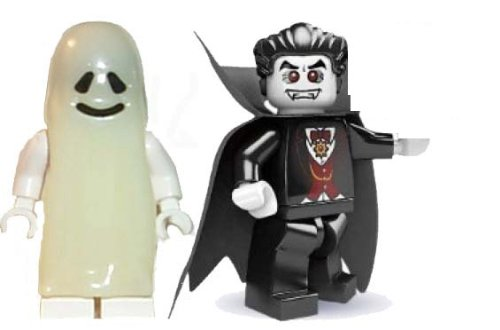 LEGO Dracula Vampire, and Glow in Dark Ghost Minifigures Halloween Series 2]()