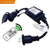 Remote Control Dimmer Dimming Controller,Outdoor Wireless RF Smart Plug-in Dimmer - 200W Max Power, 150FT MAX Range, IP68 Waterproof, Stepless Dimming for Dimmable LED String Lights/LED Bulbs