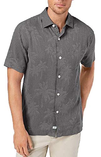 Tommy Bahama Digital Palms Silk Camp Shirt (Color: Cave, Size XXL) (Clearance Bahama Big Tall Tommy And)