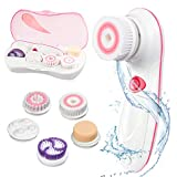 Facial Brush Cleaner - Facial Brush 5 in 1 Waterpfoof Facial Cleansing Brush Electric Body Skin Cleansing System Face Cleaner Brush for Blackheads, Gentle Exfoliating, Deep Cleansing and Acne